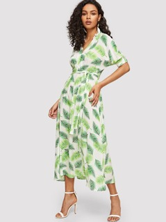 V-cut Neck Tropical Print Belted Dress