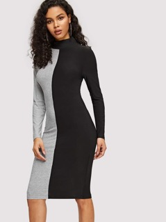 Mock-neck Two Tone Bodycon Dress