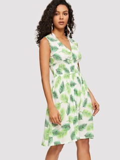 Surplice Neck Shirred Waist Tropical Dress