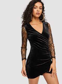 Lace Sleeve Ruched Overlap Velvet Dress