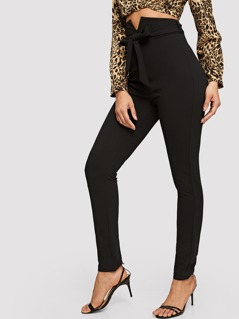 Notch Waist Self Belted Skinny Pants