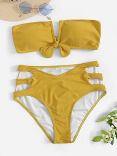 Knot Bandeau With Ladder Cutout Bikini Set