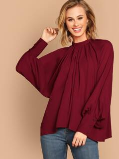 Mock Neck Buttoned Cuff Lantern Sleeve Pleated Blouse
