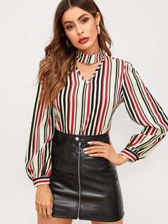Vertical-stripe V Cut Choker Blouse