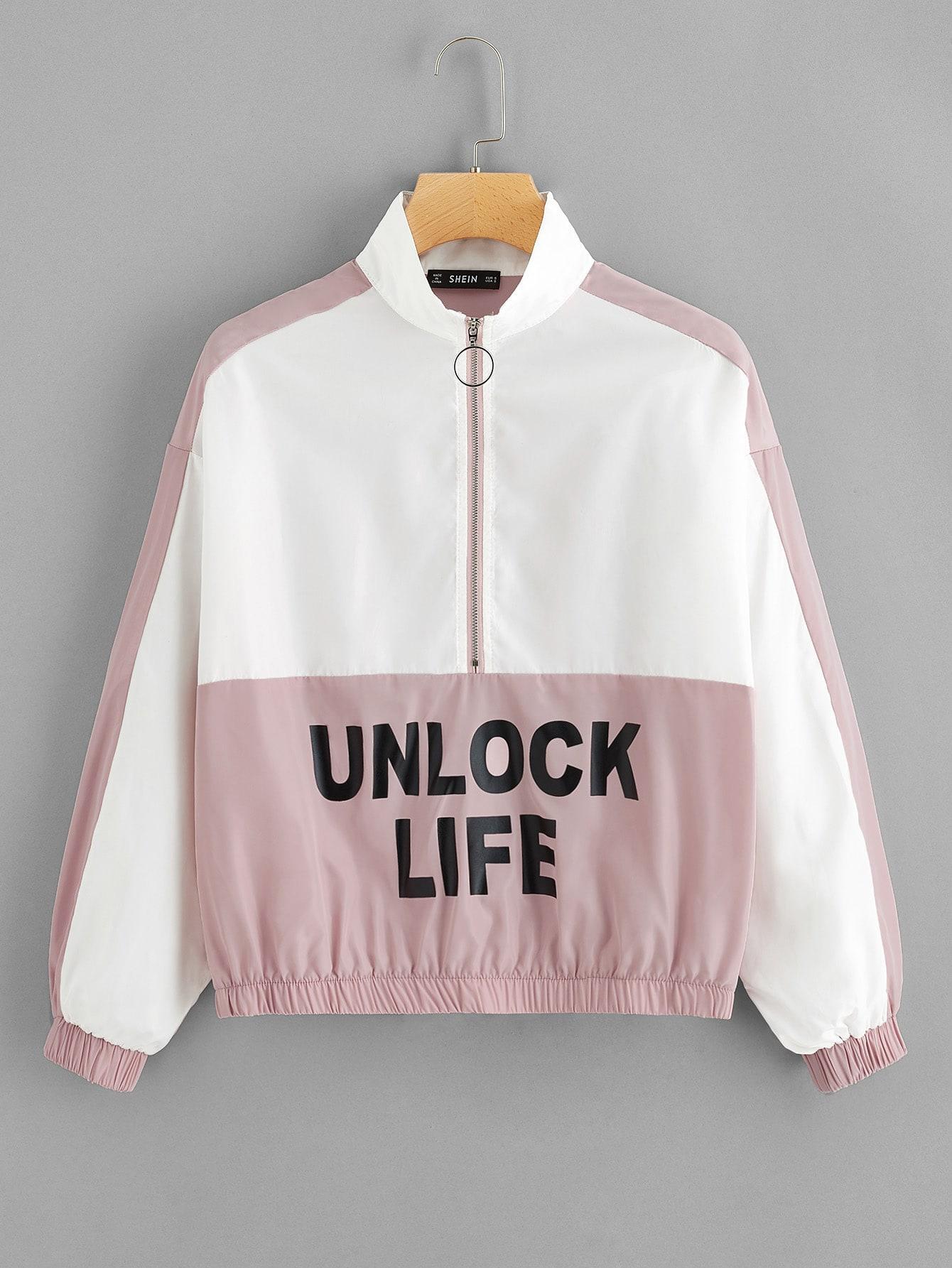 Купить Двухцветная куртка с укороченной молнией и текстовым принтом, null, SheIn
