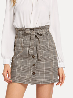 Single Button Belted Plaid Skirt