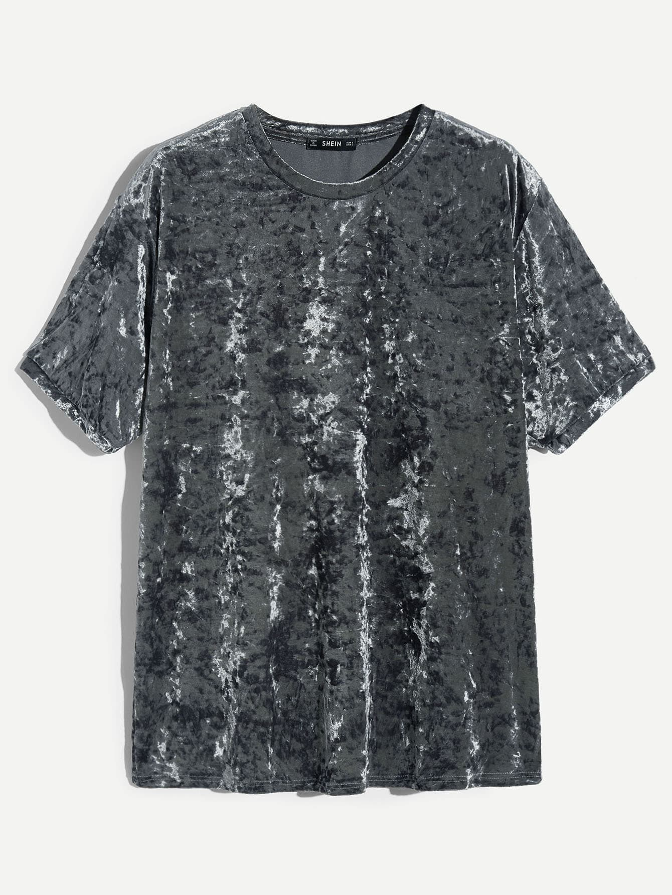 Мужская бархатная футболка с коротким рукавом, null, SheIn  - купить со скидкой