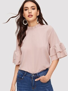 Frilled Neck Tiered Sleeve Top