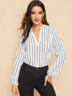 V-neck Curved Hem Striped Top