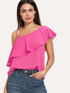 Ruffle Detail Asymmetrical Neck Solid Top