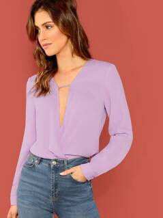 Plunging Neck Wrap Hem Blouse