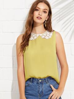 Guipure Lace Peter Pan Collar Shell Top