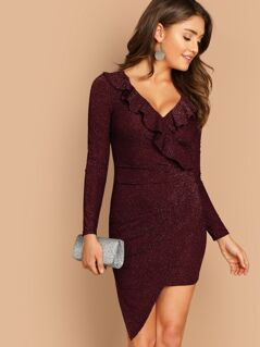 Ruffle Trim Asymmetrical Hem Glitter Dress