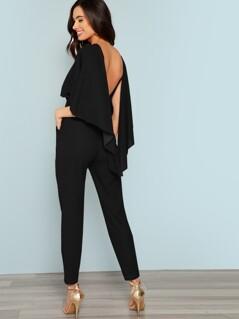 Slant Pocket Backless Batwing Sleeve Jumpsuit