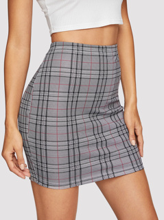 Plaid Print Fitted Skirt