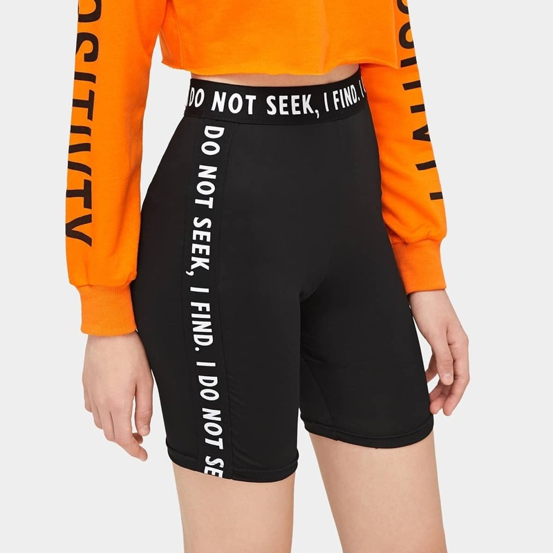 Letter Tape Panel Cycling Shorts, Black