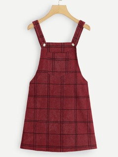 Bib Pocket Patched Grid Cord Overall Dress