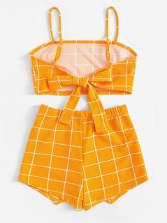 f839c80814 Knot Back Grid Cami Top & Wrap Shorts Set | MakeMeChic.COM