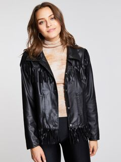 Fringe Detail Pocket Front Leather Look Jacket