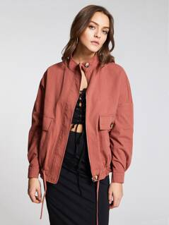 Drop Shoulder Zip Up Drawstring Utility Jacket