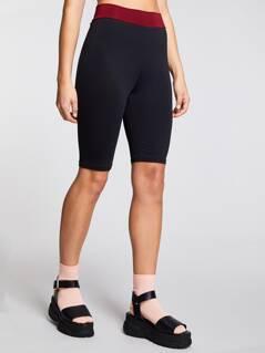 Contrast Waist Biker Shorts