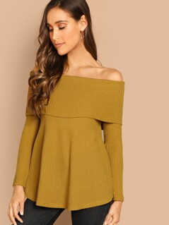 Foldover Front Off Shoulder Fitted Tee