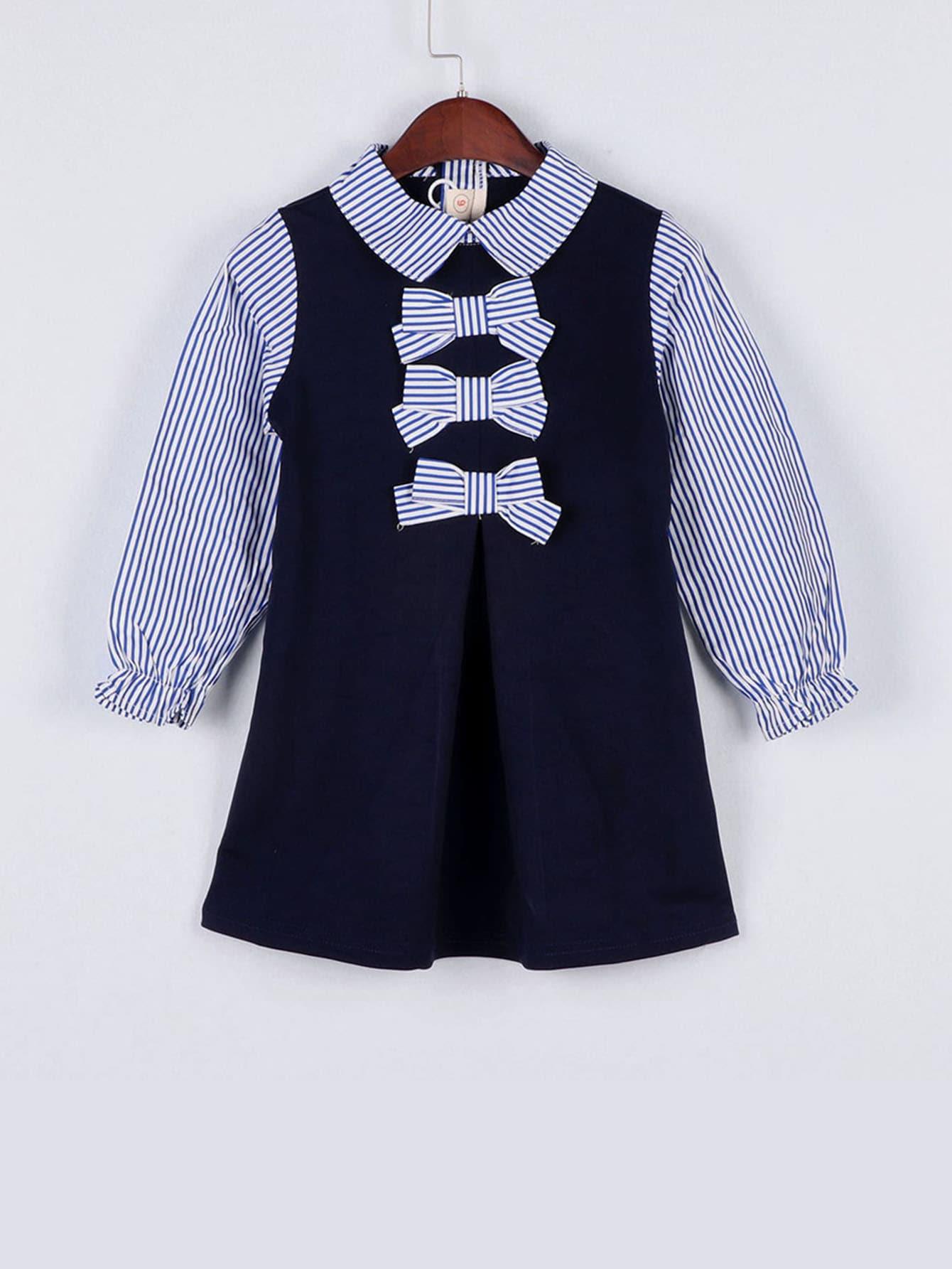 Купить Платье с контрастным полосатым воротником и полосатыми бантами для девочек, null, SheIn