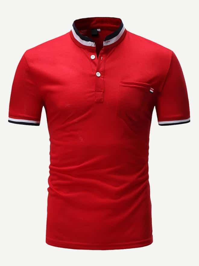 Купить Мужская поло футболка с контрастным полосатым воротником, null, SheIn