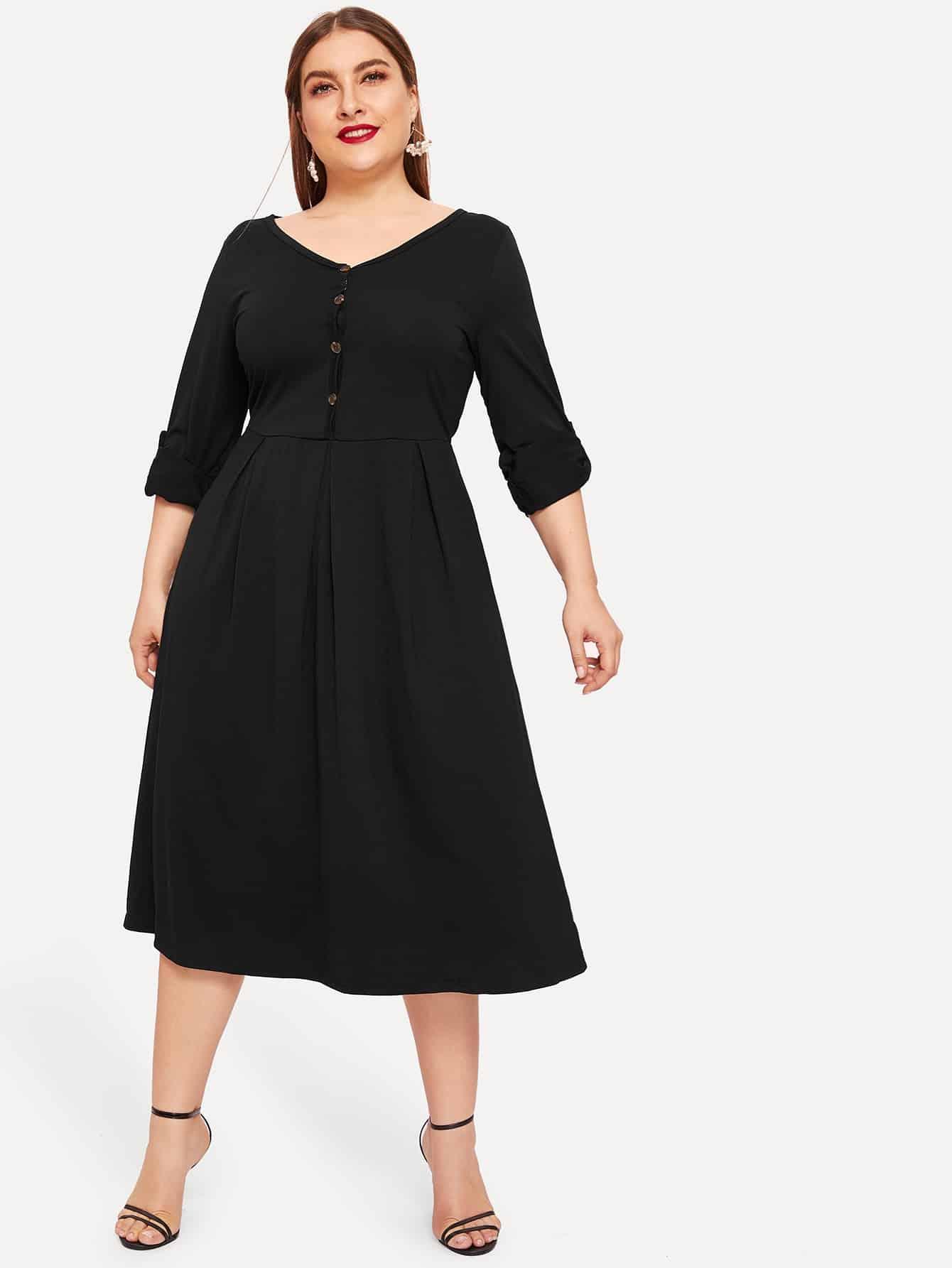 Размера плюс однобортное плиссированное платье с оригинальным рукавом