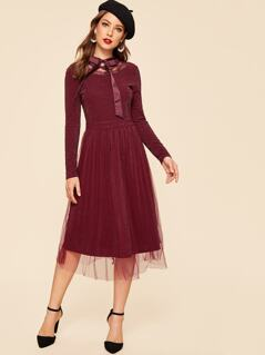 Tie Neck Mesh Overlay Fit & Flare Dress