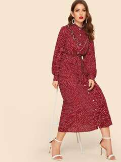 Polka Dot Ruffle Trim Self Belted Shirt Dress