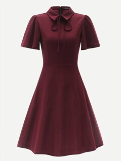 Zip Back Tie Neck Puff Sleeve Fit & Flare Dress