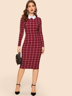 Grid Print Collar Dress