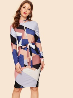 40s Half Zipper Color Block Belted Pencil Dress