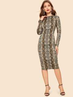 Snakeskin Print Pencil Dress