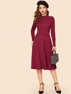 60s Button Detail Ribbed Velvet Dress