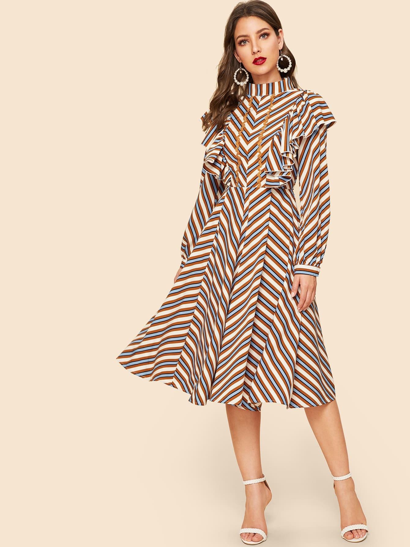 Купить Контрастное платье со стоячим воротником и полосками, Debi Cruz, SheIn