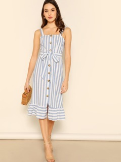 Button Up Ruffle Hem Belted Striped Pinafore Dress