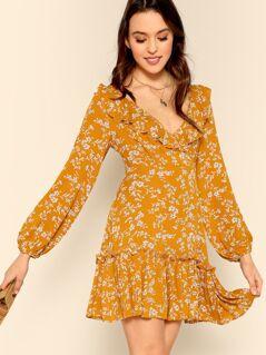 Flounce Surplice Ditsy Floral Tea Dress