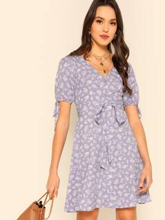 Single Breasted Knot Cuff Floral Print Belted Dress