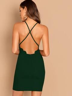 Scallop Trim Crisscross Back Bodycon Dress