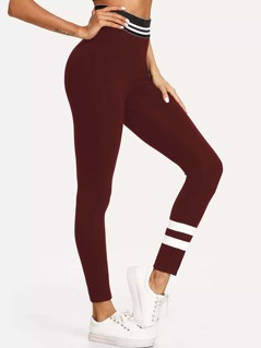 Wide Waist Striped Leggings
