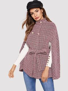 Double Breasted Front Tie Waist Tweed Cape Coat