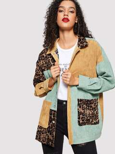 Color Block Leopard Print Button Cord Coat