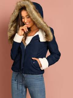 Zip Up Drawstring Faux Fur Contrast Hoodie Coat