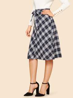 Waist Belted Plaid Skirt