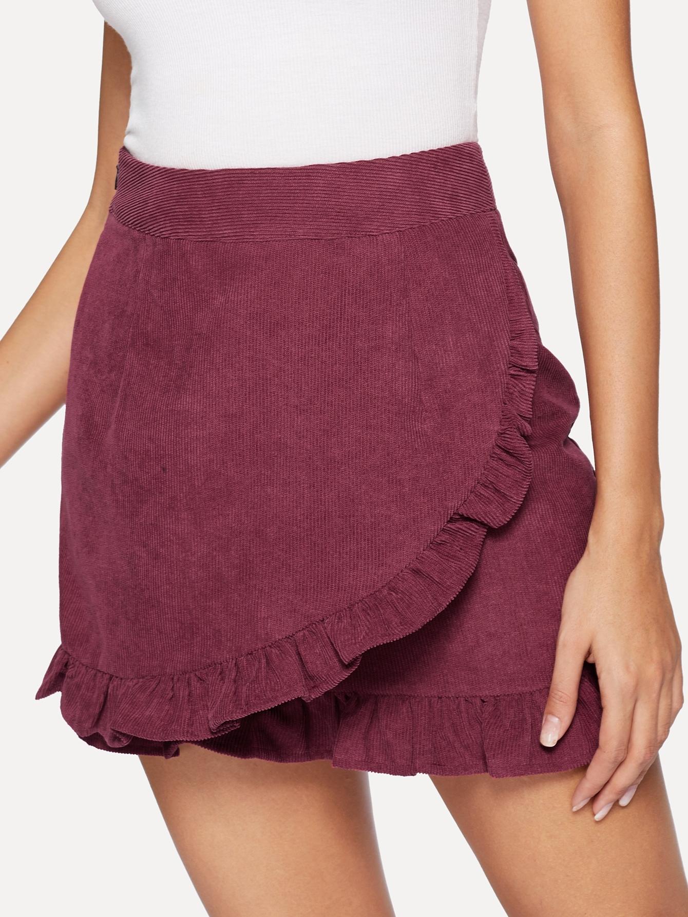 Купить Вельветовая облегающая юбка с оборками, Giulia, SheIn