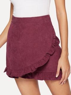 Ruffle Detail Wrap Cord Bodycon Skirt