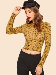 Crop Form Fitted Leopard Top