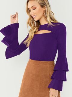 Open Front Layered Sleeve Solid Tee